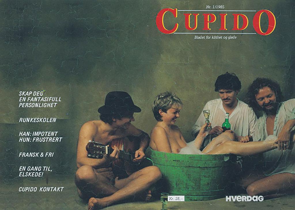 Cupidos omslagsbilde fra 1985 med Jorunn Veiteberg som en moderne variant av Susanna i badet. Foto: Grethe Belinda Solberg Barton